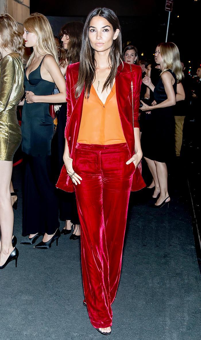 Lily Aldridge in Red Velvet Suit at Harper's Bazaar ICONS Event