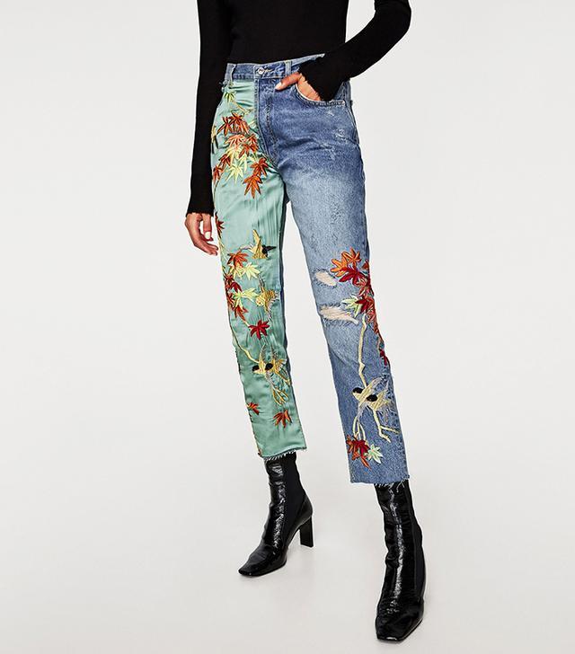 Zara Embroidered High-Waist Jeans