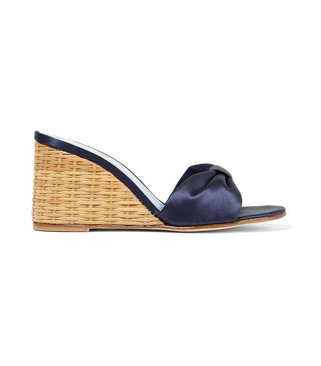 Wicker Wedge Satin Sandals
