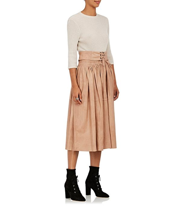 Hilda Pleated Leather Midi-Skirt