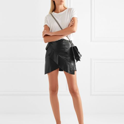 Ruffled Leather Wrap-effect Mini Skirt