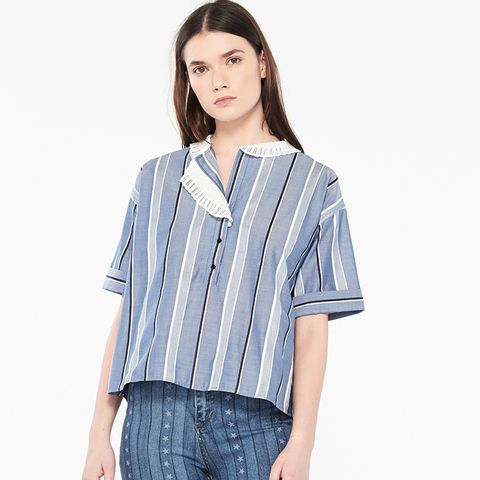 Top With Stripes and Asymmetric Collar
