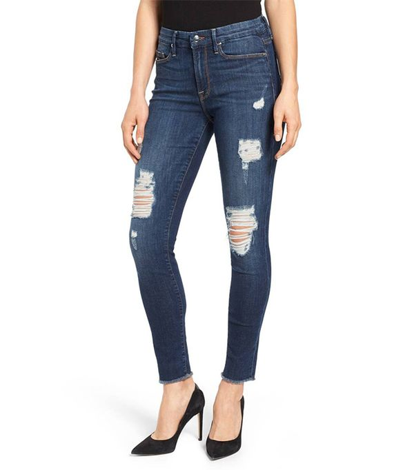 Plus Size Women's Good American Good Legs High Rise Ripped Skinny Jeans