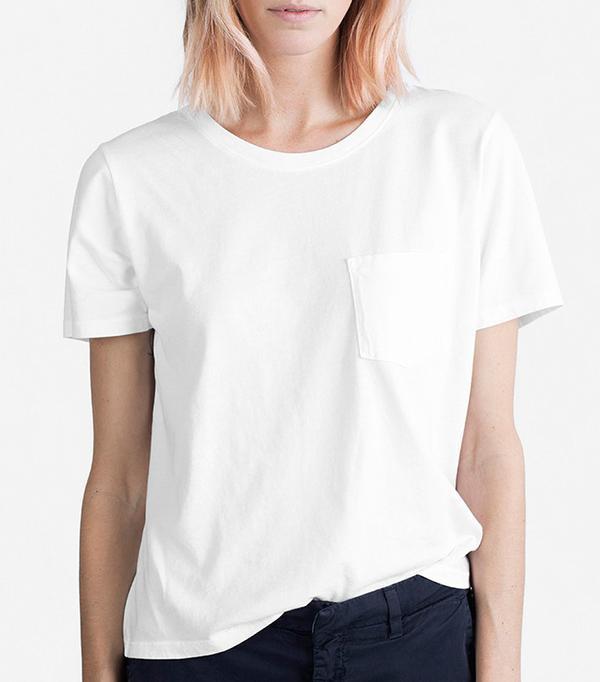 Women's Cotton Box-Cut Pocket T-Shirt by Everlane in White, Size XXS