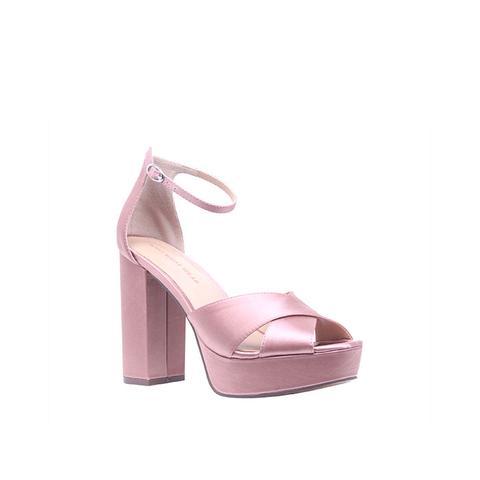 Sydney Satin Platform Crossband Quarter-Strap Sandal Heels