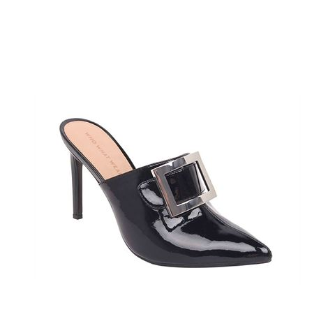 Gemma Patent Buckle Heeled Mules