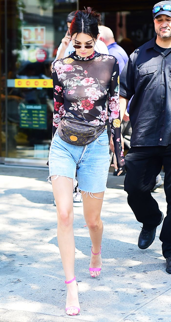 Kendall Jenner floral bodysuit and shorts