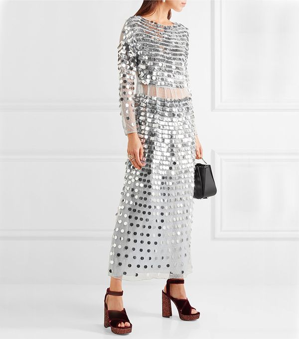 Paillette-embellished Swiss-dot Tulle Midi Dress