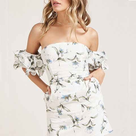 Floral Frill Sleeve Mini Dress