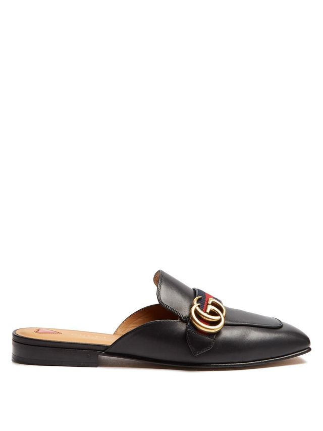 Peyton leather backless loafers