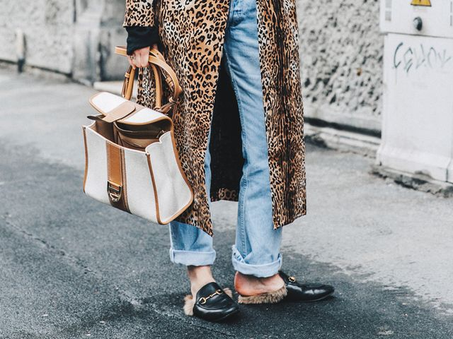 Gucci loafers leopard coat street style