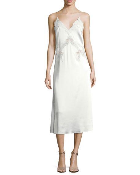 Jonathan Simkhai Stretch-Lace Satin Slip Dress