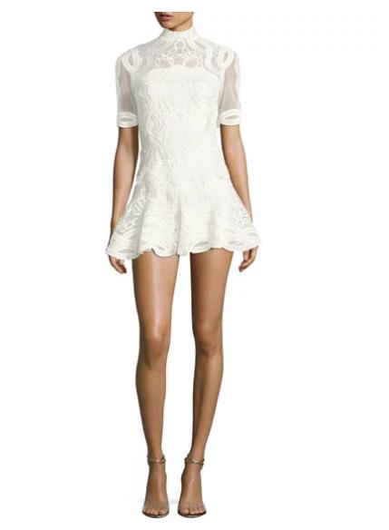 Jonathan Simkhai Truss Lace Appliqué Fit & Flare Mini Dress