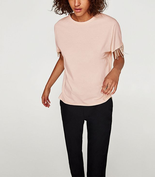 Zara T-Shirt With Pearly Fringes