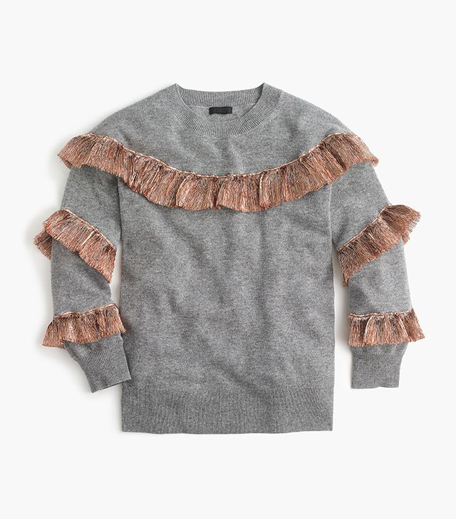 J.Crew Cashmere Sweater With Lamé Fringe
