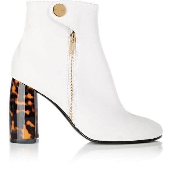 Women's Tortoiseshell-Heel Faux-Leather Ankle Boots