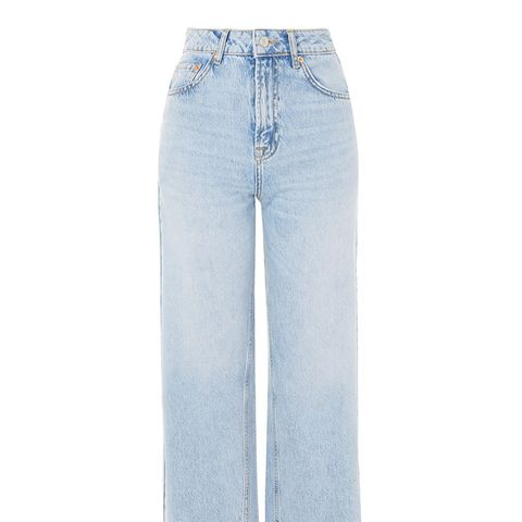 Moto Bleach Cropped Wide Leg Jeans