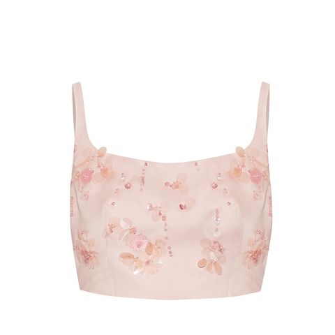 Cropped Appliquéd Silk-Gazar Top