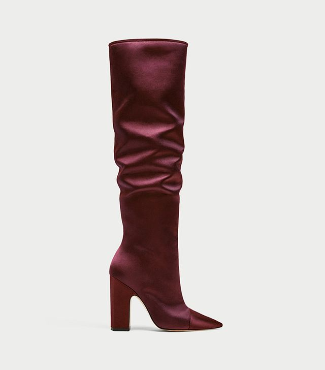 Zara Sateen High Heel Boots in Burgundy