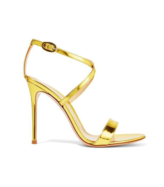 - Metallic Glossed-leather Sandals - Shiny gold