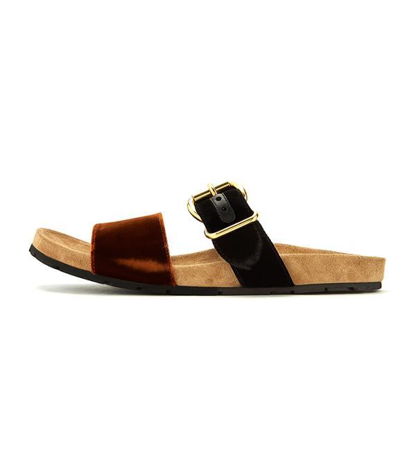 Double-strap velvet sandals
