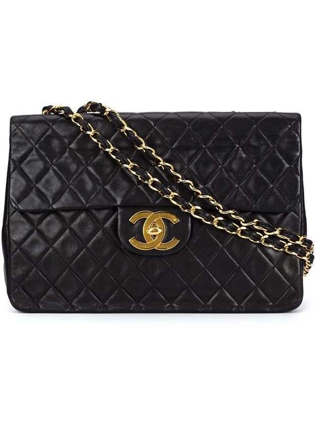 maxi single flap shoulder bag, Women's, Black