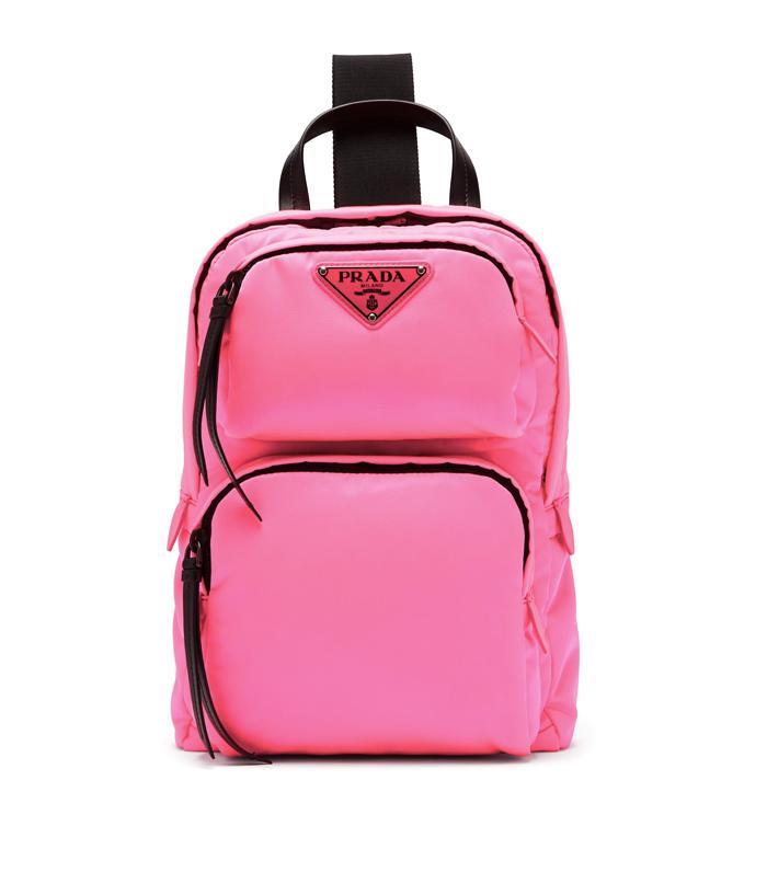 Prada Leather-Trimmed Backpack (