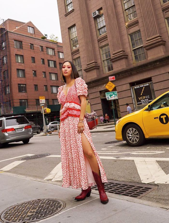 Best Self-Portrait Dresses: Aimee Song wears hers in New York City.