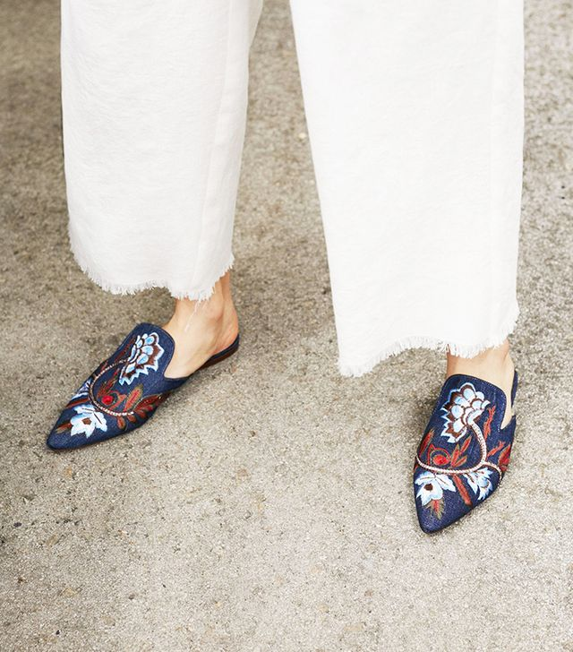 Floral embroidered denim loafers