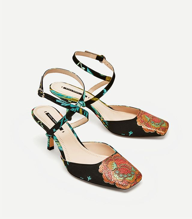 Zara Embroidered Kitten Heel Slingback Shoes