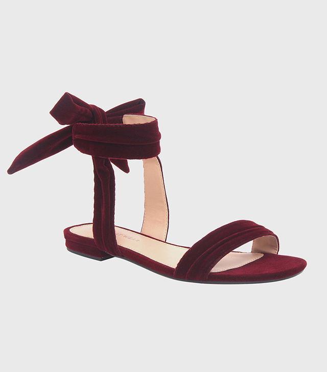 Who What Wear Liana Velvet Tie Back Ankle Wrap Sandals