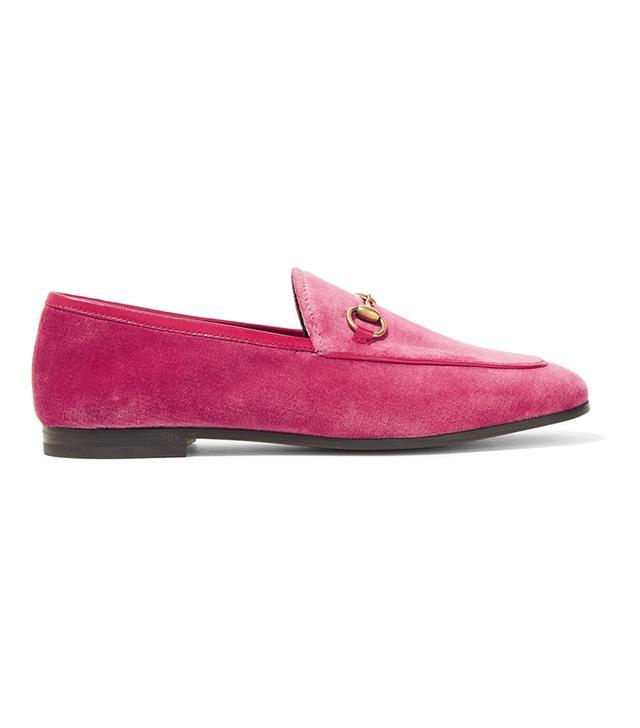 Jordaan Horsebit-detailed Leather-trimmed Velvet Loafers