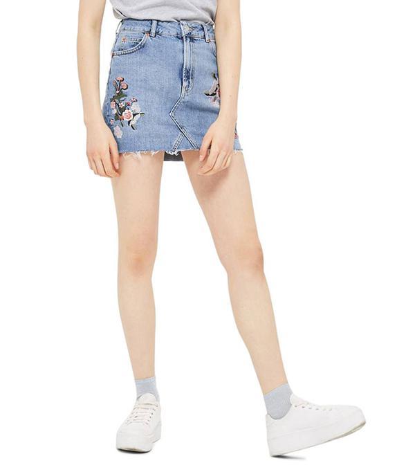 Embriodered Denim Miniskirt