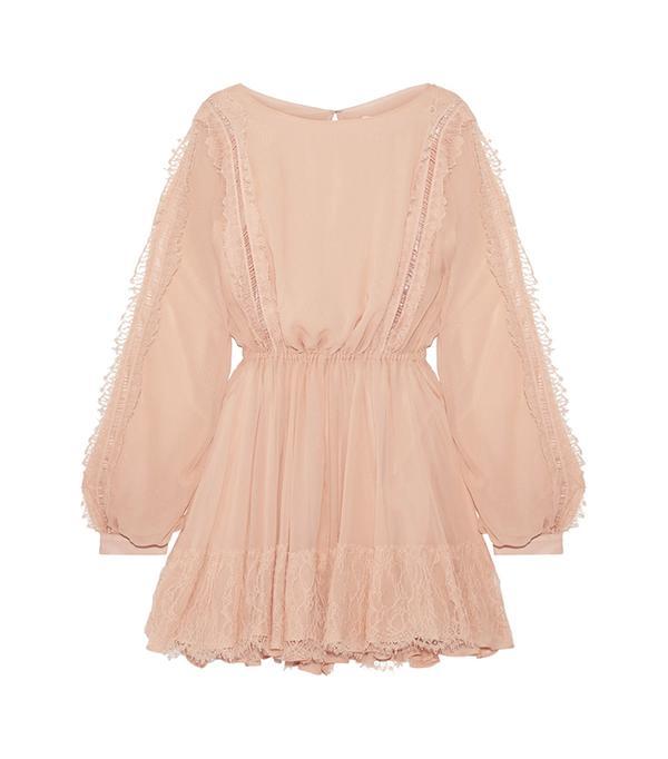 Noelle Lace-trimmed Silk-georgette Mini Dress