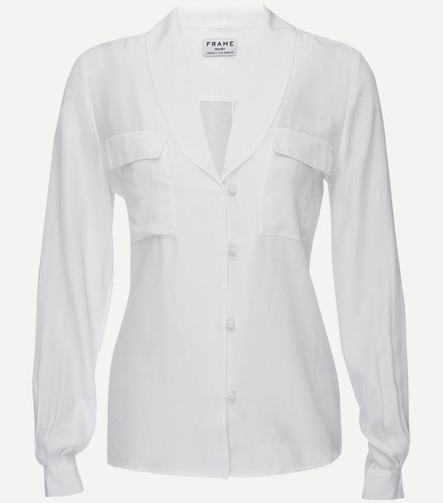 Frame Shawl Collar Long Sleeve Silk Blouse