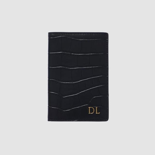 The Daily Edited Black Mock Croc Passport Holder