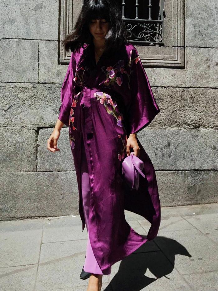Maria Bernad wearing a kimono