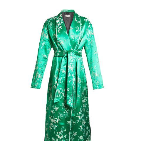 Floral-Jacquard Satin Kimono Dress