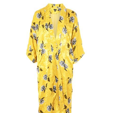 Floral Print Maxi Kimono Jacket