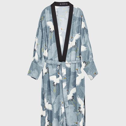 Heron Print Kimono