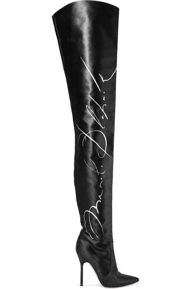 Manolo Blahnik Printed Satin Thigh Boots