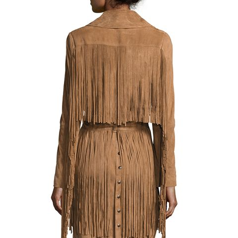 Born in the Fire Fringed Suede Long Jacket