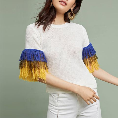 Fringed Sleeve Pullover