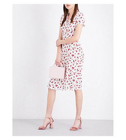 Selfridges HVN Morgan Cherry-Print Silk-Satin Dress