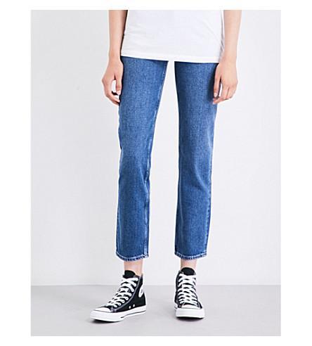 Selfridges Calvin Klein Straight Cropped High-Rise Jeans