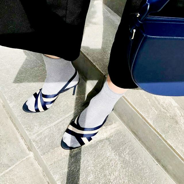 Navy and White Heels from Charles & Keith