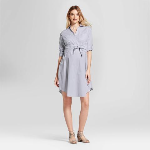 Striped Tie Front Shirt Dress