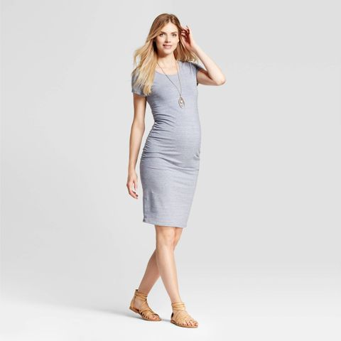 Short Sleeve Shirred T-Shirt Dress