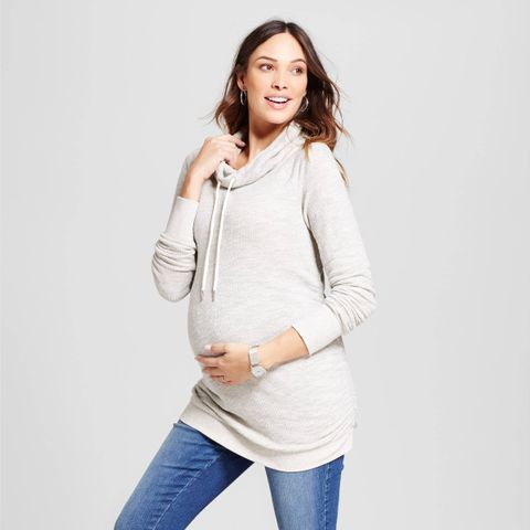 Textured Cowl Neck Sweatshirt
