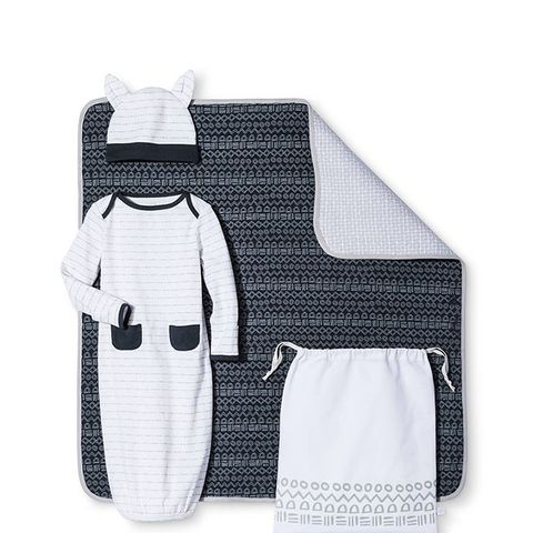Baby 4-Piece Gown, Hat, Blanket & Bag Set